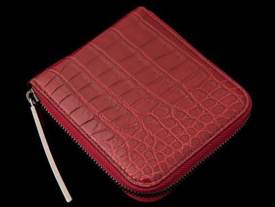 池田工芸 マットクロコダイル二つ折りファスナー財布