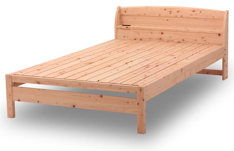 源ベッド ひのきすのこベッド コンセント 棚付き